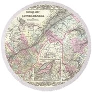 1855 Colton Map Of Canada East Or Quebec Round Beach Towel