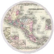 1855 Colton Map Of Central America And Jamaica Round Beach Towel
