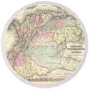 1855 Colton Map Of Columbia Venezuela And Ecuador Round Beach Towel
