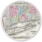 1855 Colton Map Of Connecticut And Long Island Round Beach Towel