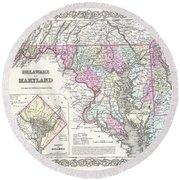 1855 Colton Map Of Delaware Maryland And Washington Dc Round Beach Towel