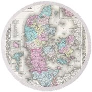 1855 Colton Map Of Denmark Round Beach Towel