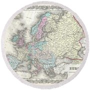 1855 Colton Map Of Europe Round Beach Towel