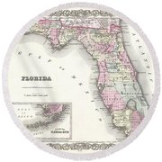 1855 Colton Map Of Florida Round Beach Towel