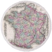 1855 Colton Map Of France Round Beach Towel