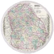 1855 Colton Map Of Georgia Round Beach Towel