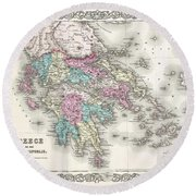1855 Colton Map Of Greece  Round Beach Towel