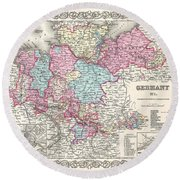 1855 Colton Map Of Hanover And Holstein Germany Round Beach Towel
