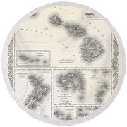 1855 Colton Map Of Hawaii And New Zealand Round Beach Towel
