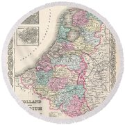 1855 Colton Map Of Holland And Belgium Round Beach Towel