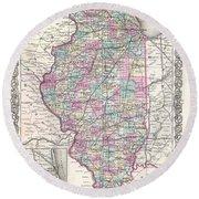 1855 Colton Map Of Illinois Round Beach Towel