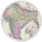 1855 Colton Map Of India Or Hindostan Round Beach Towel