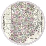 1855 Colton Map Of Indiana Round Beach Towel