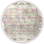 1855 Colton Map Of Iowa Round Beach Towel