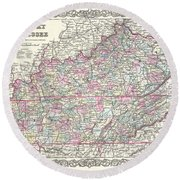 1855 Colton Map Of Kentucky And Tennessee Round Beach Towel