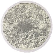 1855 Colton Map Of London Round Beach Towel