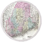 1855 Colton Map Of Maine Round Beach Towel