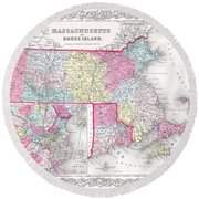 1855 Colton Map Of Massachusetts And Rhode Island Round Beach Towel