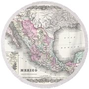 1855 Colton Map Of Mexico - Geographicus1855 Colton Map Of Mexico - Geographicus Round Beach Towel