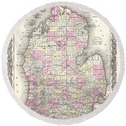 1855 Colton Map Of Michigan Round Beach Towel
