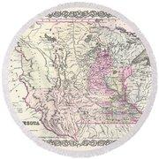 1855 Colton Map Of Minnesota Round Beach Towel