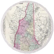 1855 Colton Map Of New Hampshire Round Beach Towel