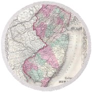 1855 Colton Map Of New Jersey Round Beach Towel
