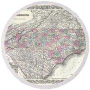 1855 Colton Map Of North Carolina Round Beach Towel