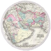 1855 Colton Map Of Persia Afghanistan And Arabia Round Beach Towel