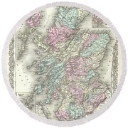 1855 Colton Map Of Scotland Round Beach Towel
