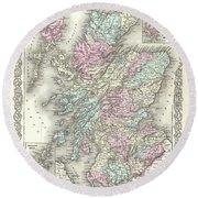 1855 Colton Map Of Scotland Round Beach Towel