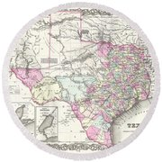 1855 Colton Map Of Texas Round Beach Towel