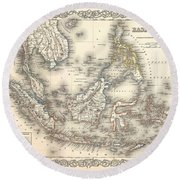 1855 Colton Map Of The East Indies Singapore Thailand Borneo Malaysia Round Beach Towel