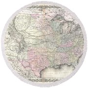 1855 Colton Map Of The United States  Round Beach Towel