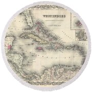 1855 Colton Map Of The West Indies Round Beach Towel