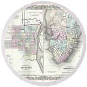 1855 Colton Plan Or Map Of Charleston South Carolina And Savannah Georgia Round Beach Towel