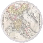 1856 Desilver Map Of Northern Italy Round Beach Towel