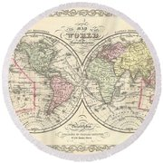 1856 Desilver Map Of The World  Round Beach Towel