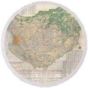 1856 Japanese Edo Period Woodblock Map Of Musashi Kuni Tokyo Or Edo Province Round Beach Towel