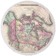 1857 Colton Map Of Canada And Alaska Round Beach Towel