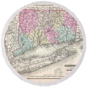 1857 Colton Map Of Connecticut And Long Island Round Beach Towel