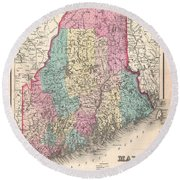 1857 Colton Map Of Maine Round Beach Towel