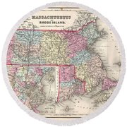 1857 Colton Map Of Massachusetts And Rhode Island Round Beach Towel