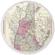 1857 Colton Map Of New Hampshire Round Beach Towel