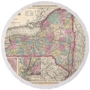 1857 Colton Map Of New York Round Beach Towel