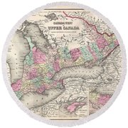 1857 Colton Map Of Ontario Canada Round Beach Towel