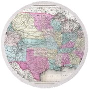 1857 Colton Map Of The United States  Round Beach Towel