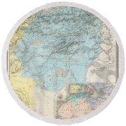 1857 Dufour Map Of Constantine Algeria Round Beach Towel