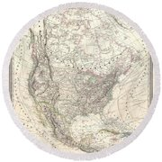 1857 Dufour Map Of North America Round Beach Towel