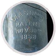 1858 Masons Jar Round Beach Towel